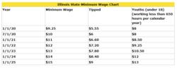 The Minimum Wage Chart of Illinois